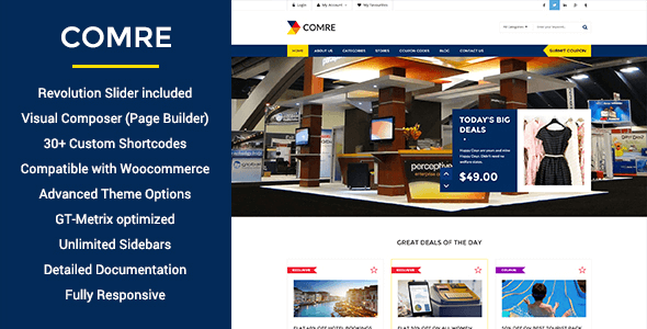 Comre is a theme perfect for all kind of discount and deals websites.