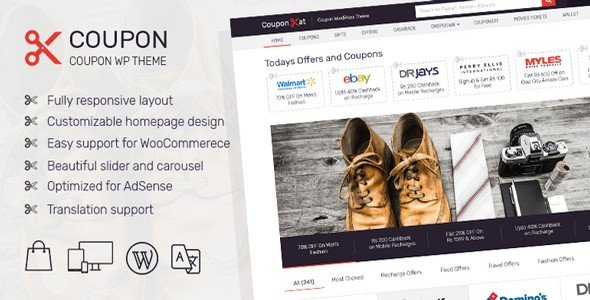 Coupon is a WordPress theme from MyThemeShop designed for selling coupons online.