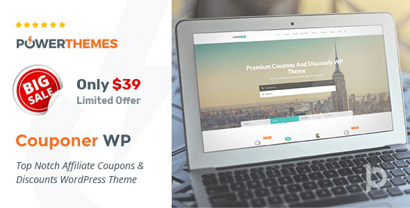 Couponer is a WordPress theme that is suitable for affiliate coupons and discounts.