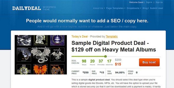 Daily Deal is a deal and coupon WordPress theme from Templatic.