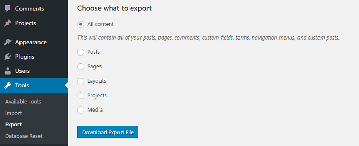 It's now time to export the contents from your old site to the new one.