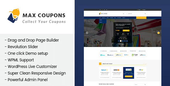 Max Coupons is a discount and coupons WordPress theme.