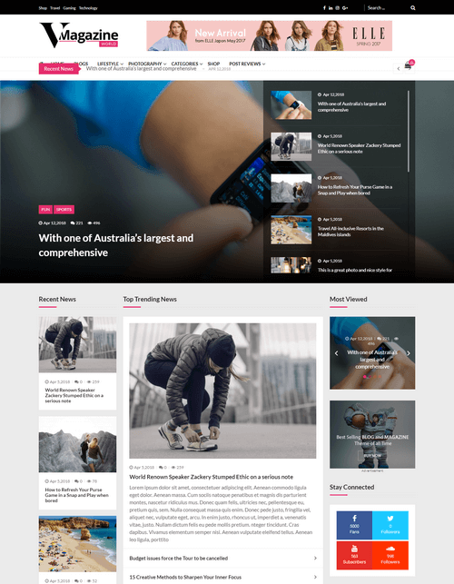 VMagazine – Premium Magazine WordPress Theme Demo One