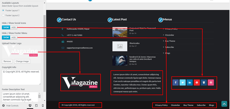 Footer Options gives you the privilege to cChoose and change the footer layouts etc.