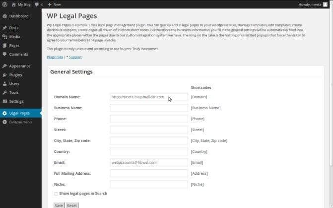 Create the legal pages in WPlegalPages