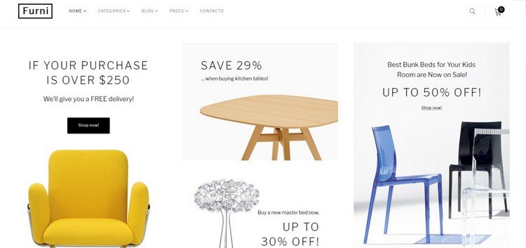Furni is a clean and minimalist eCommerce theme.