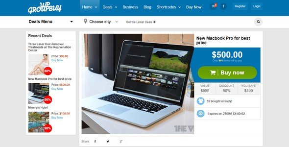 WPGroupbuy is a flexible and WordPress theme for deals and coupons.