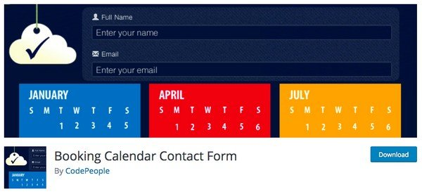 The Booking Calendar Contact Form plugin is a contact form with simple booking processes.