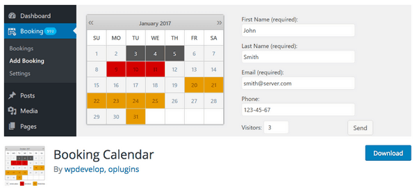 The Booking Calendar plugin lets your customers book the dates.
