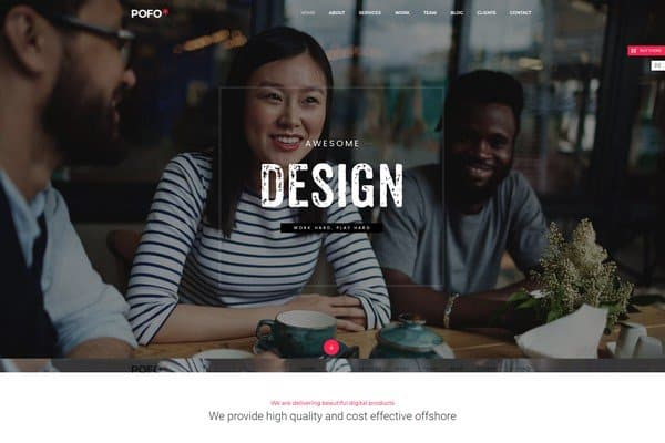Pofo is a multi-purpose theme and can be used for portfolios and blogs to agencies and e-commerce stores.