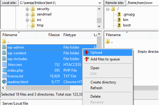 Upload Files to the Server