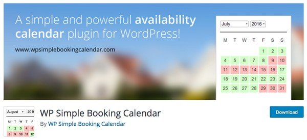 WP Simple Booking Calendar is perfect for businesses that deals with bookings for apartments or rooms.