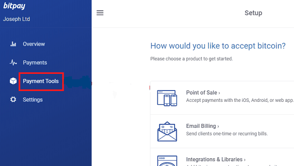In the BitPay platform select the Payment Tools option.