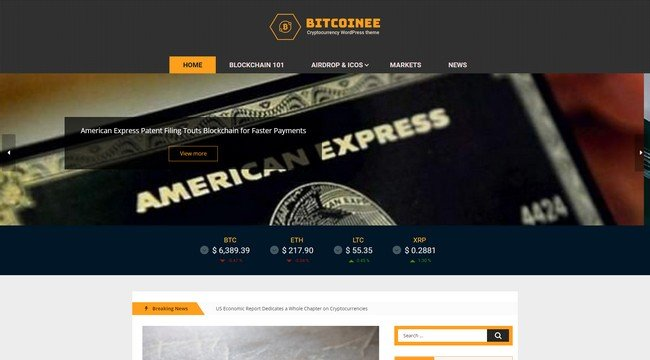 Bitcoinee is a free cryptocurrency WordPress theme.