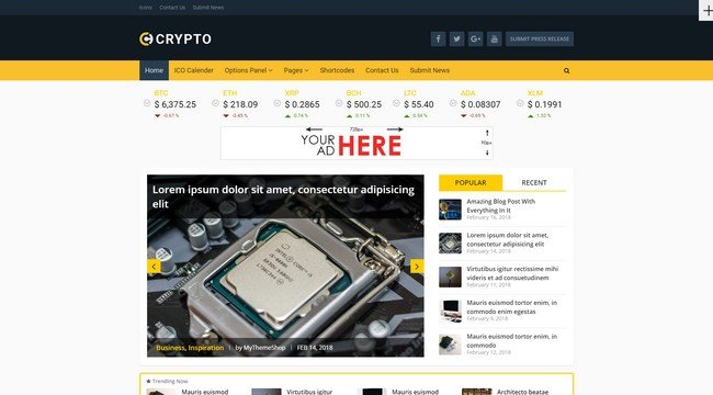 Crypto is a cryptocurrency WordPress theme from MyThemeShop.