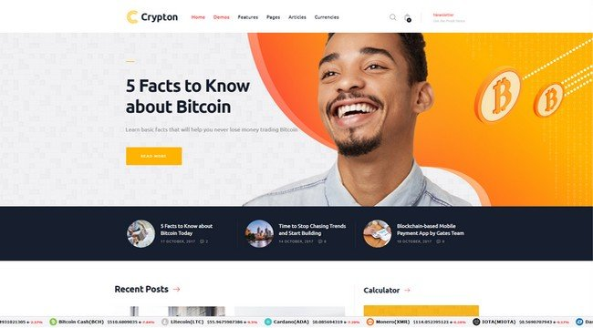 Crypton is an elegant CryptoCurrency WordPress theme from ThemeREX.