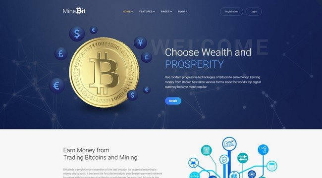 MineBit is a Bitcoin cryptocurrency WordPress theme from TemplateMonster.