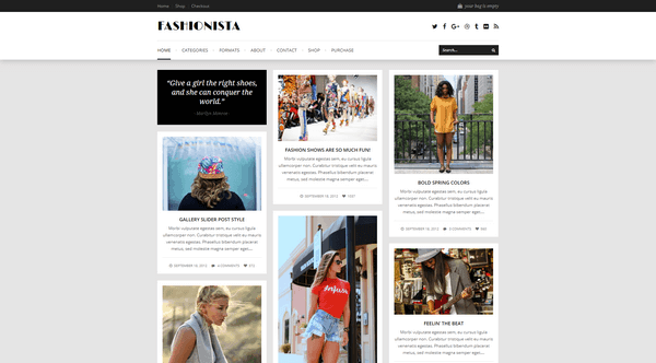 Fashionista is a Pinterest-inspired WordPress from WPExplorer.