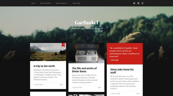Garfunkel is a sophisticated WordPress theme with masonry layout.