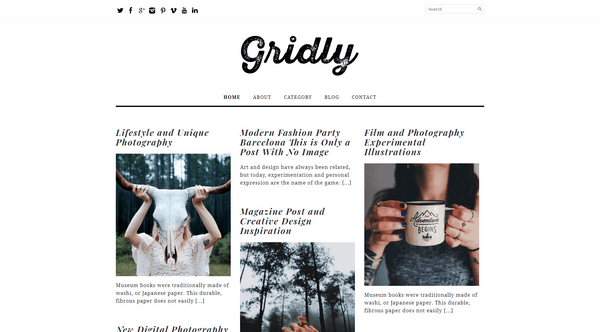 Gridly is a free beautiful WordPress theme from Dessign Themes.