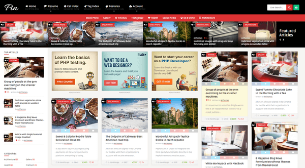 Pin is a perfect WordPress theme for anyone who likes Pinterest.