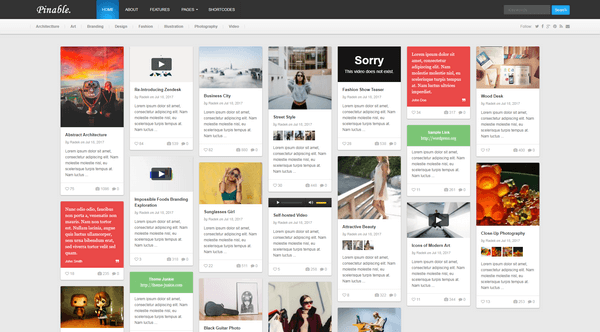 Pinable is a Pinterest WordPress theme by Theme Junkie.