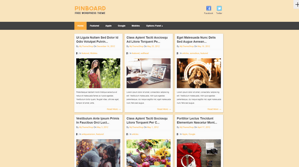 Pinboard is a free Pinterest-inspired WordPress theme from MyThemeShop.