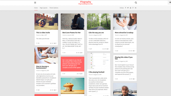 Pingraphy is a great looking Pinterest-style WordPress theme by ThemeCountry.