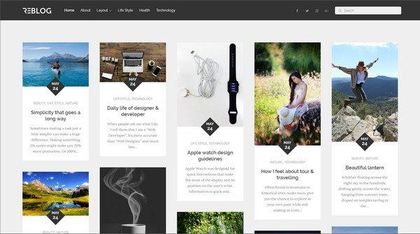 Reblog is a attractive masonry Pinterest WordPress theme.