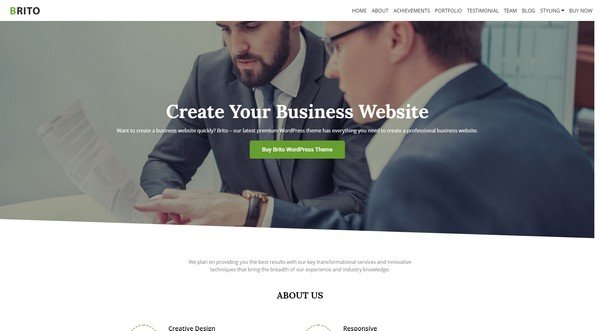 Brito is a great WordPress theme if you want to create a professional-looking website.