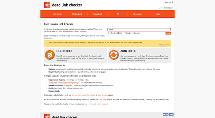 You can use online tools such as Dead Link Checker.