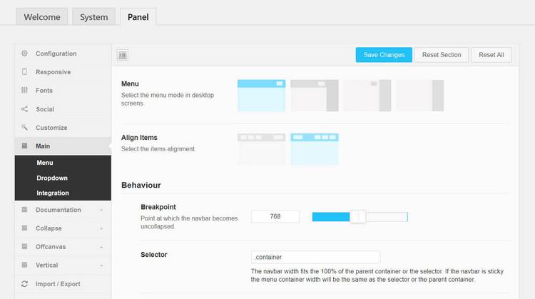 QuadMenu horizontal menu options.