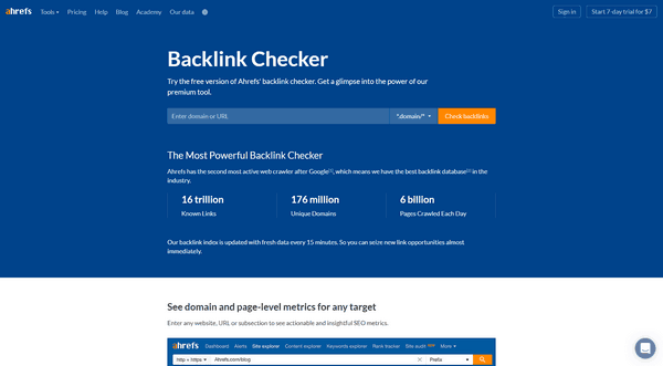 Use Ahrefs' backlink checker free version to analyze competitors' backlinks.