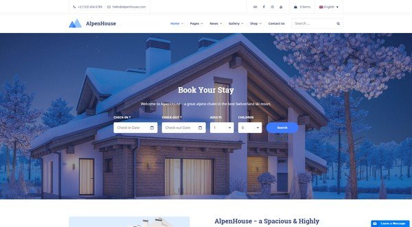 Alpenhouse Hotel Booking WordPress Theme