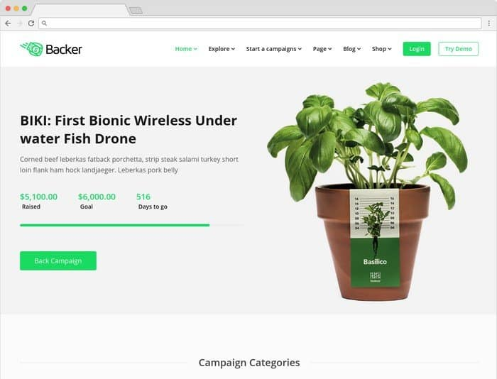 Backer is a multipurpose WordPress theme..