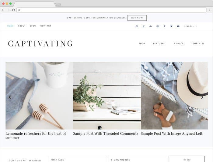 Captivating Theme is a WordPress theme designed for bloggers.