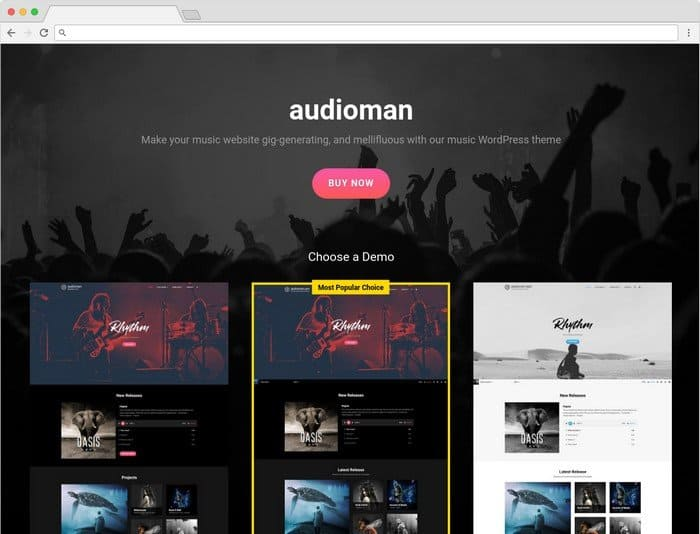 Audioman Pro is a modern Music WordPress Theme built for musicians.