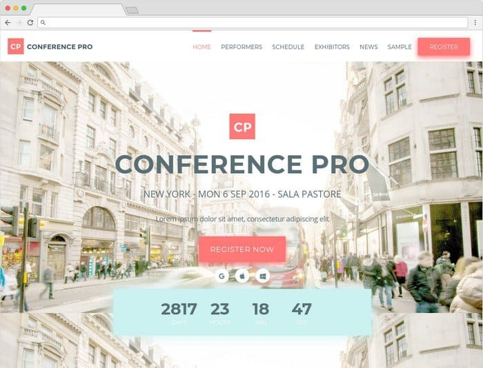 Conference Pro is WordPress event theme.