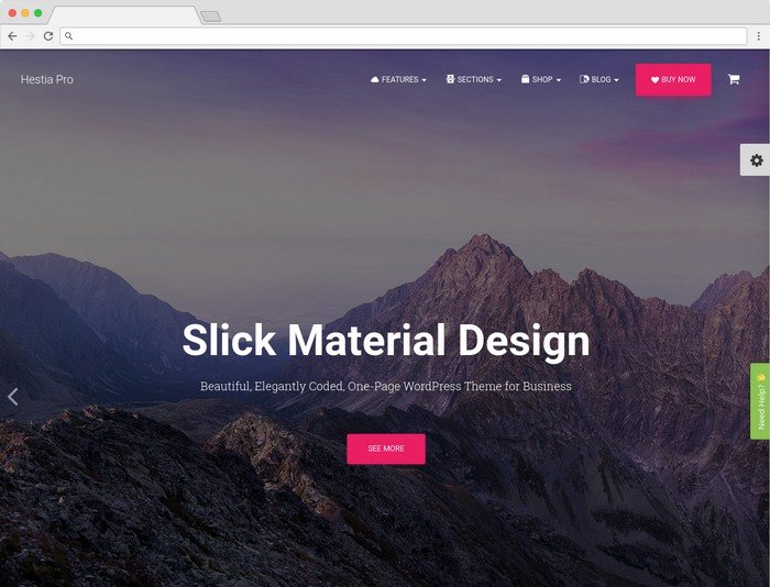 Hestia is a material design WordPress theme.