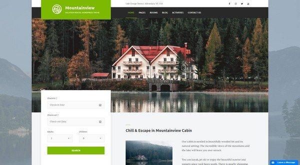 Mountainview Vacation Rental WordPress Theme