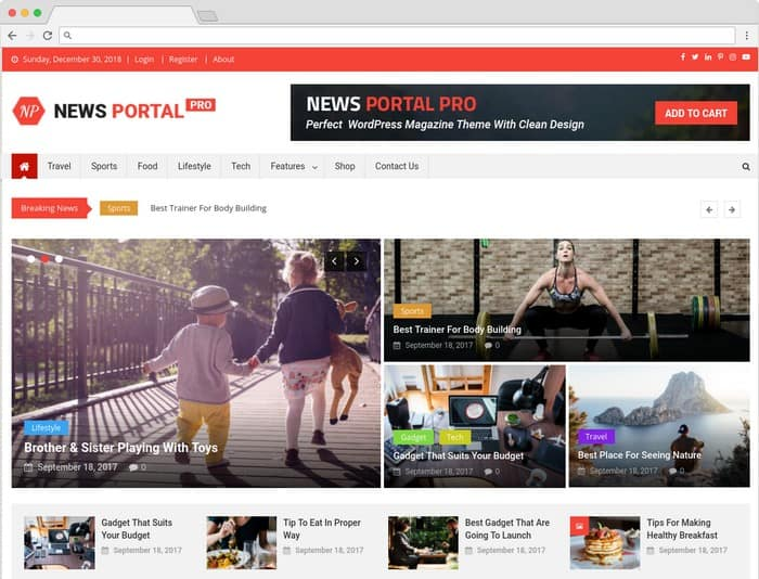 News Portal Pro is amagazine WordPress theme.