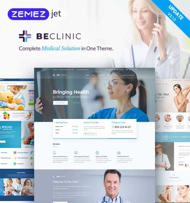 BeClinic is a medical WordPress theme.