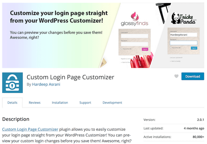 WordPress Custom Login Page CustomizerPlugin.