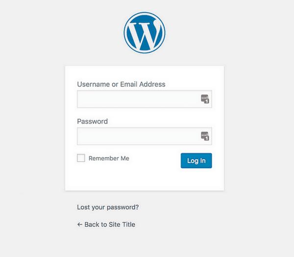 The default login screen in WordPress.