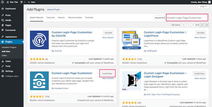 Install the WordPress Custom Login Page CustomizerPlugin.