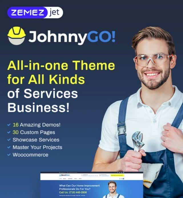 JohnnyGo is a all-in-one WordPress theme for businesses.
