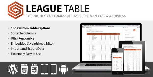League Table is a premium WordPress table plugin.