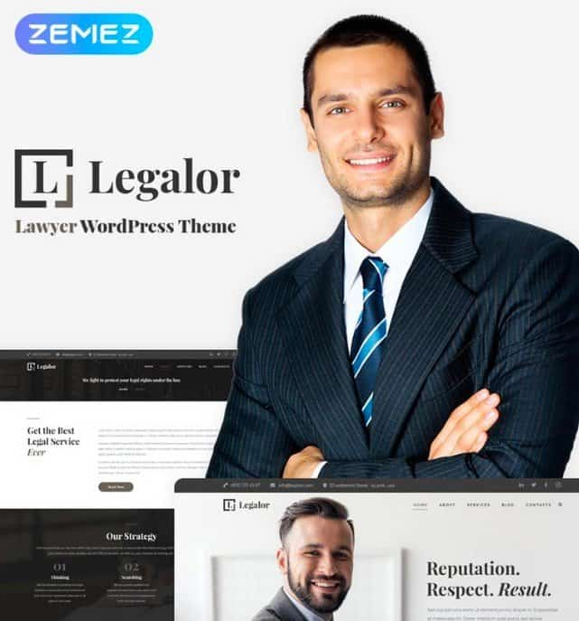 Legalor is a lawyer and business WordPress theme.
