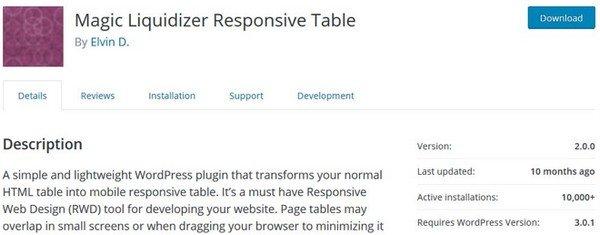 Magic Liquidizer is a responsive Table freemium WordPress plugin.