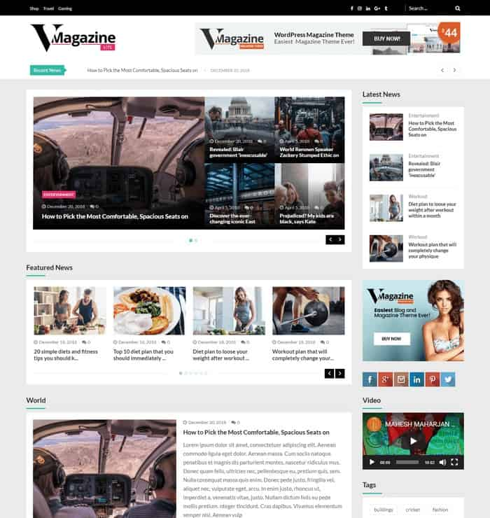 VMagazine Lite is a WordPress theme for newspaper and editorial sites.